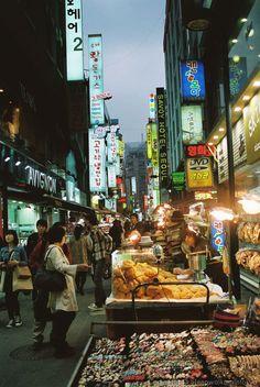 Street vendors at Myeongdong Seoul, South Korea