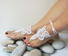 LUXLace Jewelry Wedding White Barefoot Sandals, Bridesmaids, Wedding Shoes , Victorian Lace, beach wedding
