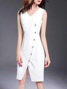 #AdoreWe YIYIQI White A-line Simple V Neck Buttoned Midi Dress - AdoreWe.com