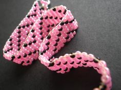 Spring Summer Hot Pink Black Beadweaving Bead by CassieVision