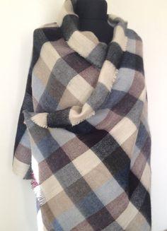 f79b5b588692a Pastel Tartan Plaid Blanket Scarf, Casual Fall Winter Scarf, Warm Fashion  Scarf, Oversize Wrap, Fashion Trend Accessory, Trendy Gift for Her