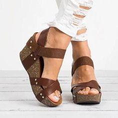Women Plus Size Elastic Band Wedge Sandals Open Toe Sandals – monyberry Lace Up Sandals, Open Toe Sandals, Peep Toe Heels, Strap Sandals, Wedge Sandals, Wedge Shoes, Summer Sandals, Summer Shoes, Strappy Wedges