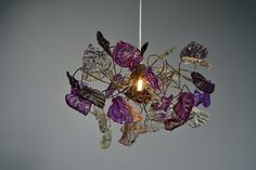 Ceiling light. purple & gray colors leaves by yehudalight on Etsy, $129.00