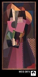 """Museo de Artes Plásticas Eduardo Sívori. """"Señorita con abanico verde"""" Autor: Emilio Petorutti. Técnica: óleo sobre tela."""