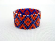 Beadwork Peyote Ring in Orange and Blue Beaded Seed Bead Delica - size 8