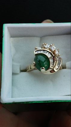 14k Gold Diamond Columbian Emerald Wedding Ring by MADAMECKERSON