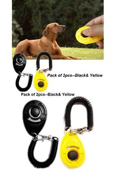 CC gift Pack of Dog Training Clicker with Wrist Strap Dog Training Tools, Best Dog Training, Shock Collar, Pet Accessories, Black N Yellow, Small Dogs, Best Dogs, Collars, Amazon