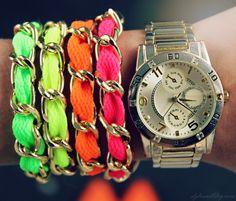 DIY neon chain bracelets