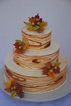 Wood grain fall leaves wedding cake by Sweet Fix, via Flickr. Love the Acorns