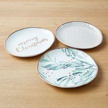 Gold Rim Decorative Set Of 3 Christmas Plates Christmas Plates Christmas Trends Gold Rims