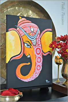 Indian Modern Art Exhibitions Ideas For 2019 Lord Ganesha Paintings, Ganesha Art, Ganesha Drawing, Madhubani Art, Madhubani Painting, Indian Art Paintings, Modern Art Paintings, Buddha Painting, Mural Painting