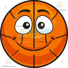 A Smiling Basketball:  An inflated orange spherical rubber ball with black ribs divided into eight segments eyes wide opened while smiling with sealed lips  The post A Smiling Basketball appeared first on VectorToons.com.  #emoji #emoticon #clipart #graphicdesign #vectortoons
