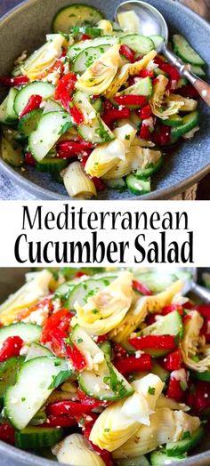 Mediterranean Cucumber Salad, Mediterranean Appetizers, Easy Mediterranean Diet Recipes, Mediterranean Dishes, Healthy Salad Dressings, Avocado Salad Recipes, Salad Dressing Recipes, Healthy Salad Recipes, Artichoke Salad