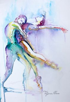 Original Watercolor Painting. Wall art dancing by TatyanaIlieva