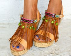 Boho chic shoes/ Handmade  genuine leather sandals/ by magosisters