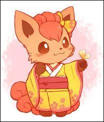 Chibi Kawaii Pokemon-- So cute! Vulpix in a kimono! Fan Art Pokemon, Gif Pokemon, Pokemon Tattoo, Pokemon Images, Pet Anime, Anime Kawaii, Pokemon Fusion, Kawaii Drawings, Cute Drawings