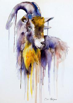"Goat watercolor  painting print 8"" x 12""  goat,  animal, illustration, animal watercolor, Ovis aries, Capra"