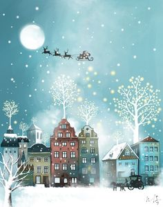 Beautiful Santa flying over rooftops illustration