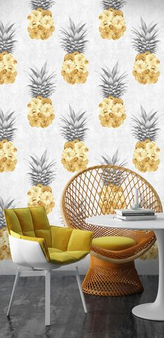 Yellow flower filled pineapple pattern wallpaper Dining Room Wallpaper, Kitchen Wallpaper, Funky Wallpaper, Pattern Wallpaper, Pineapple Wallpaper, Yellow Interior, Funky Home Decor, Room Decor, Wall Decor