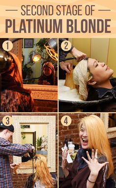 Next, heat is applied to the hair, and when it's time, the bleach is rinsed out of the hair and the hair is blown dry.