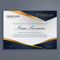 Certificate decorated with blue shapes and golden lines Free Vector ~ vectorkh Certificate Of Recognition Template, Certificate Layout, Certificate Background, Certificate Of Achievement Template, Certificate Design Template, Graphic Design Services, Brochure Design, Flyer Design, Certificate Of Appreciation