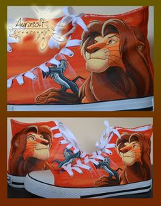 Custom Painted Hi Top Canvas Lion King Shoes by Aurasoft on Etsy