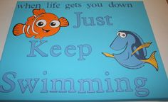Finding Nemo Just Keep Swimming 11 X 14 by ScrappyLittleLearner, $24.95