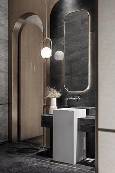 钧廷设计 时代律动,中山万科 西湾汇销售中心 - 样板房 - 第4页 - 赖帮能设计作品案例 Washroom Design, Toilet Design, Bathroom Design Luxury, Washbasin Design, Bathroom Toilets, Remodled Bathrooms, Bathroom Inspiration, Bathroom Lighting, Design Ideas