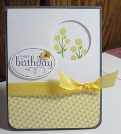 handmade birthday card fromJennifer's Stamp Pad: Birthday Blooms ... sweet card featuring white and yellow on a creay card base ... like the balance of the three elements with bow, porthole, and sentiment oval ... like it@!!