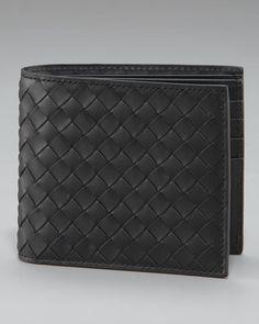 Basic Woven Wallet, Black by Bottega Veneta at Neiman Marcus.