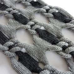 Open Cables- Knitted Textiles Design - knot net shawl, structural knitting with two tone linking pattern // Cari + Carl