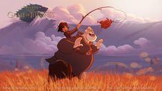 Deux artistes brésiliens ont imaginé à travers des illustrations ce qu'aurait été la série Game Of Thrones si elle avait été réalisée par les studios Disney