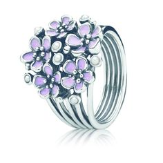 Cherry Blossom Bouquet Ring, Pink Enamel & Pearl | Sterling Silver | PANDORA US