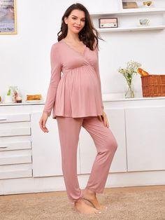 Maternity Lace Trim Surplice Neck Top With Pant Pajama Set