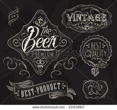 Vintage Elements stylized under a chalk drawing on the theme of beer on a black background (retro style, patterns, acorn, inscriptions, ribbons, twig, hops, graphics)