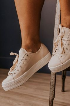 Put some more sole under your style. Pair up your favorite jeans with our Triple Kick Leather sneakers for that casual, heightened look. These cute sneakers will add some flare to any outfit you choose! Available in Blush and White Tan Sneakers, Girls Sneakers, Leather Sneakers, Shoes For Girls, Shoes For Women, Summer Sneakers, Trendy Womens Shoes, Womens Fashion Sneakers, Womens Casual Sneakers