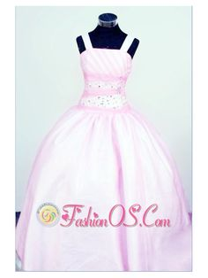 Sweet Straps Customize Baby Pink Taffeta Little Girl Pageant Dresses With Beading  http://www.fashionos.com  http://www.facebook.com/quinceaneradress.fashionos.us  Your girl will be like a princess in this sweet elegant little girl dress.The fitted bodice has a special design with the beading scatters around the waist and two ruched waistbands embellish the bodice. The full skirt with a lace up back completes the look.