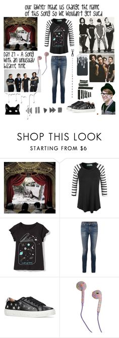 """Day 27 - Our lawyer made us change the name of this song so we wouldn't get sued - Fall Out Boy"" by jetblackheart2020 ❤ liked on Polyvore featuring CO, LE3NO, Yves Saint Laurent, Aquazzura, Hot Topic, Black Tape and Nivea"