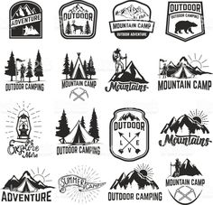 Set of camping emblems isolated on white background. royalty-free set of camping emblems isolated on white background hiking tourism outdoor adventure stock vector art & more images of hiking Hiking Logo, Camp Logo, Outdoor Logos, Travel Baby Showers, Free Vector Art, Design Elements, Tourism, Images, Logo Design