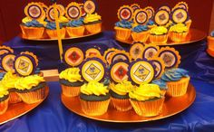 Cub Scout Cupcake Toppers Blue & Gold Banquet by TaradiddleDesign Arrow Of Lights, Pack Meeting, Yellow Paper, Pinewood Derby, Gold Invitations, Cub Scouts, Flower Shape, Banquet, Cupcake Toppers