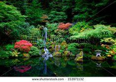 Waterfalls in a Japanese Garden