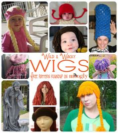 Wild & Wacky Free Crochet Wig Patterns - perfect for Halloween, dress-up, and fancy dress! Holiday Crochet, Crochet Gifts, Crochet Yarn, Free Crochet, Crochet Skull, Crochet Halloween Costume, Crochet Costumes, Halloween Dress, Halloween Costumes