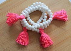 Wholesale Bracelet White beaded Coal Tassel Bracelet by TTassel