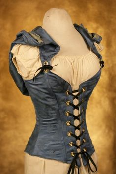 Blue Hooded Cloak Corset CUSTOM FIT by damselinthisdress on Etsy