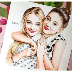 Drawing of Sabrina Carpenter (blonde hair) who resembles my character Mia for my recent Nanowrimo 2015. Also pictured is Rowan Blanchard.