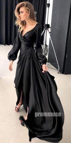 Popular Black Long Sleeves Long Prom Dresses - Black Dresses - Ideas of Black Dresses - Popular Black Long Sleeves Long Prom Dresses Prom Muse Black Dress With Sleeves, Prom Dresses Long With Sleeves, Long Dresses, Long Sleeve Formal Dress, Dress Long, Dress Prom, Classy Gowns, Classy Dress, Elegant Dresses For Women