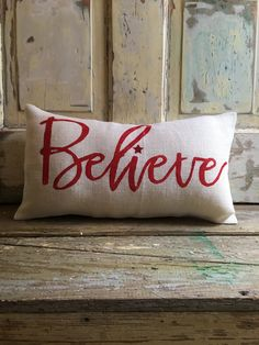 Burlap Pillow  Believe pillowBelieve Christmas pillow santa