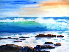"""Blue Water Wave Crashing on Rocks"" Fine Art Original Watercolor Painting by Carlin Blahnik.   A blue sky ablaze with an orange sunset.  Sunlight bounces through the wave onto the sea foam and to the rocks in the ocean. Peaceful.  http://www.carlinart.com/ Buy Prints: http://carlin-blahnik.artistwebsites.com/featured/blue-water-wave-crashing-on-rocks-carlin-blahnik.html"