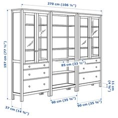 HEMNES Storage combination w doors/drawers White stain 270 x 197 cm - IKEA Glass Door Hinges, Glass Cabinet Doors, Hemnes Bookcase, Bookcases, Ikea Canada, Drawer Runners, White Stain, Small Drawers, Types Of Doors