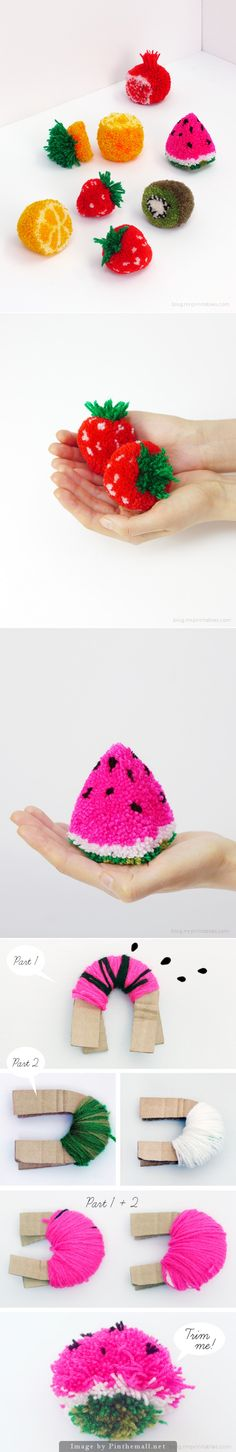 "Tutorial ""PomPom Fruit! - What a wonderful addition to your knitting and crochet! Big beautiful strawberries, kiwis, lemons, watermelon, etc."" 4U from #KnittingGuru"